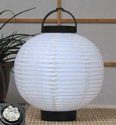 LED Battery 8in Round Paper Lanterns in WHITE