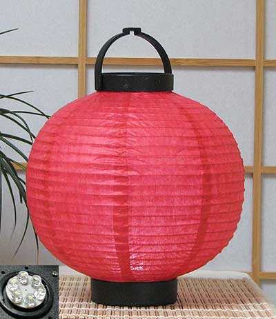 LED Battery 8in Round Paper Lanterns in RED