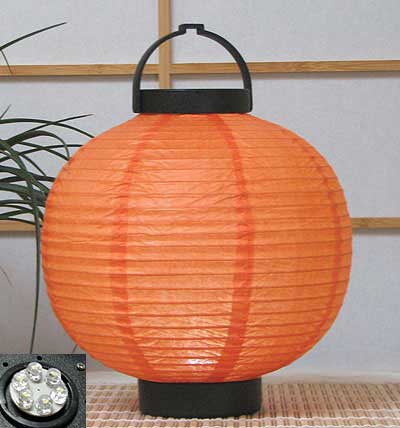 LED Battery 8in Round Paper Lanterns in ORANGE