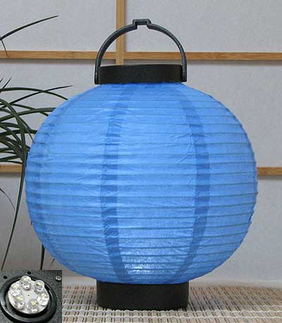 LED Battery 8in Round Paper Lanterns in BLUE