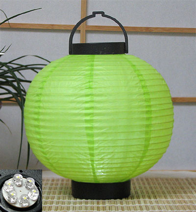 LED Battery 8in Round Paper Lanterns in LIME GREEN
