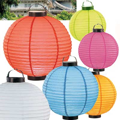 LED Battery 12in Round Paper Lanterns in LIME GREEN