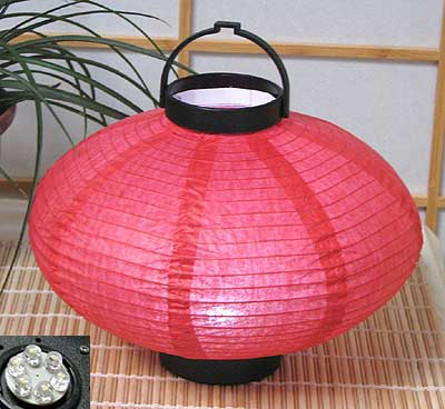 LED Battery 10in Saturn Paper Lanterns in RED