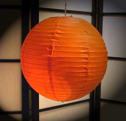 Even Ribbing Paper Lantern In Orange