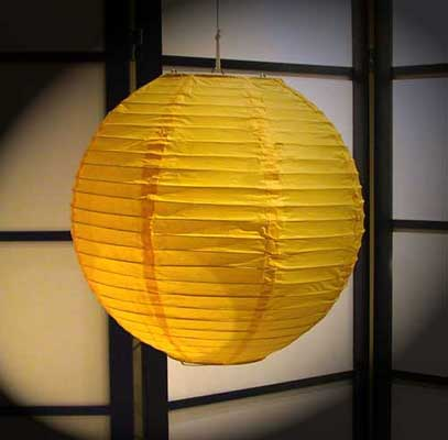 Even Ribbing Paper Lantern In Golden-Yellow