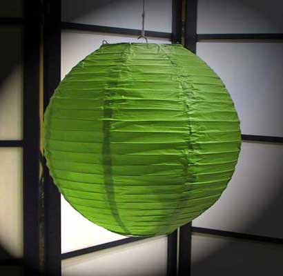 Even Ribbing Paper Lantern In Apple-Green