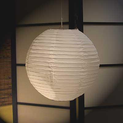 Even Ribbing Paper Lantern In White