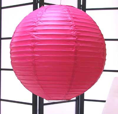 Even Ribbing Paper Lantern In Rose-Pink