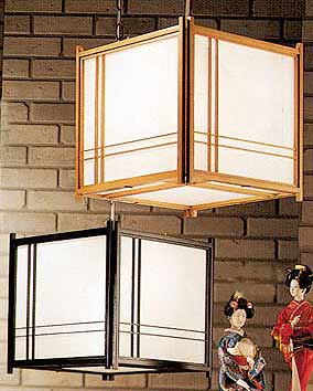 Off Set Hanging Shoji Lamp With Electrical Cord
