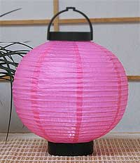 LED Battery 8in Round Paper Lanterns in ROSE PINK