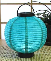 LED Battery 8in Round Paper Lanterns in TURQUOISE