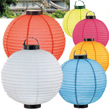 6PC Value Pack Set LED Battery 12in Round Paper Lanterns
