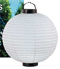 LED Battery 12in Round Paper Lanterns in WHITE