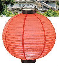 LED Battery 12in Round Paper Lanterns in RED