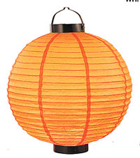 LED Battery 12in Round Paper Lanterns in ORANGE