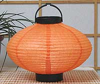 LED Battery 10in Saturn Paper Lanterns in ORANGE