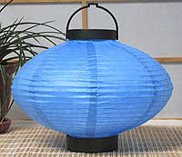 LED Battery 10in Saturn Paper Lanterns in BLUE