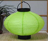 LED Battery 10in Saturn Paper Lanterns in LIME GREEN