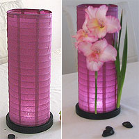 Table Centerpiece LED Battery Lanterns in Purple