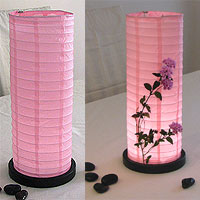 Table Centerpiece LED Battery Lanterns in Light Pink
