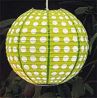 Dotted Paper Lantern In Lime Green